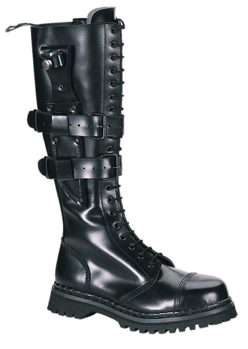 """Predator"" - Men's Knee High Lace Up Leather Combat Boots with B"