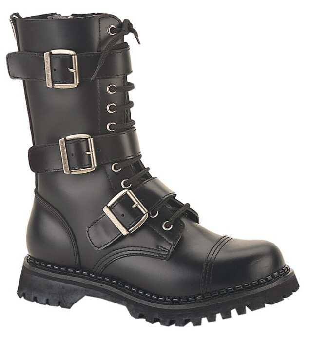 """Riot"" - Men's Mid-Calf Lace Up Leather Combat Boots with Buckle"