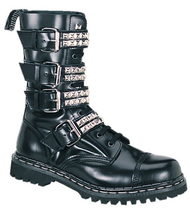 Men's Ankle High Buckled Leather Combat Boots with Pyramid Studs