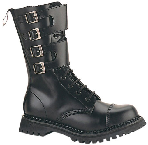 """Attack"" - Men's Mid-Calf Wide Buckle Leather Combat Boots"